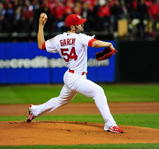 Cardinals starting pitcher Jaime Garcia went three innings, giving up two runs while striking out three.