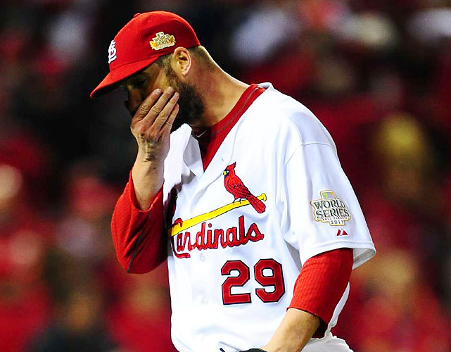 The first pitcher in a decade to make three starts in a single World Series, Chris Carpenter recorded five strikeouts in six innings for the Cardinals.