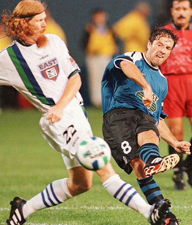Preki won his first MVP at age 34 with 12 goals and 17 assists as Kansas City shared the best record of 21-11. Preki won the league points title, but K.C. lost in the first round of the playoffs.     Other finalists: Marco Etcheverry, Carlos Valderrama