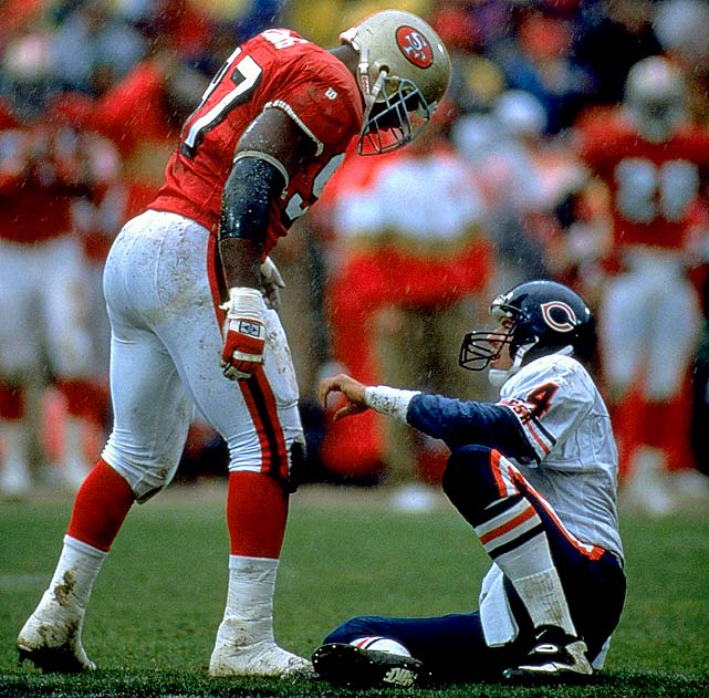 What, you thought it was Charles Haley? Nope. Bryant Young was a rare talent who could collapse the pocket and make plays from the defensive tackle spot. He also was one of the toughest players the Niners have ever had. His 89½ career sacks is a remarkable number, considering the traffic and double-teams he often faced.