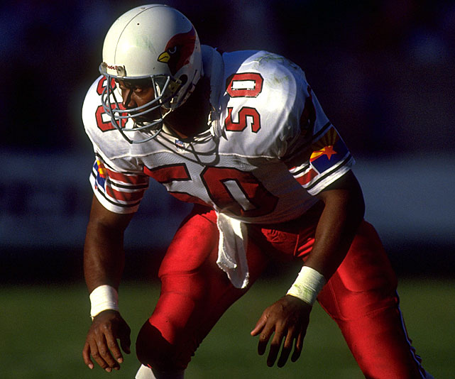 Freddie Joe Nunn is not a law firm. Unfortunately for Nunn, most fans today would be hard-pressed to remember his best days. He was a force off the edge as a linebacker and rush end. But Nunn never played on a winning team in St. Louis or Phoenix and had just two double-digit sack seasons, but his 67½ career sacks lead the way for the Cards.