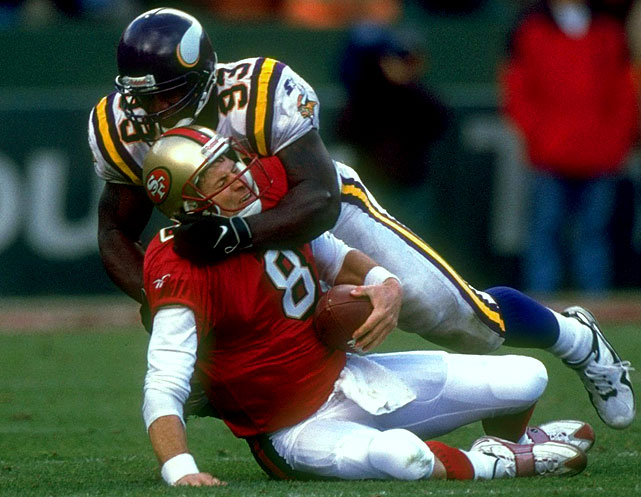 No one could possibly question John Randle's dominating ways, racking up 114 sacks over his career. Still, an asterisk could be justified, considering the Vikings unofficially credit Carl Eller with 130½, Jim Marshall with 127 and Alan Page with 108 sacks. And those greats were teammates on the famed Purple People Eaters defensive line, before sacks became an official statistic.