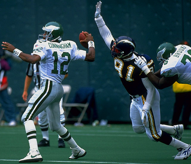Whenever lists are made of the all-time greatest NFL pass-rushers, O'Neal's name rarely gets mentioned. What a shame. You'd be hard-pressed to find sack artists who had more than his eight double-digit sack seasons. For a seven-year stretch from 1989 to 1995, O'Neal averaged nearly 13 sacks (12.7) a season. His 105½ at San Diego will be hard to top.