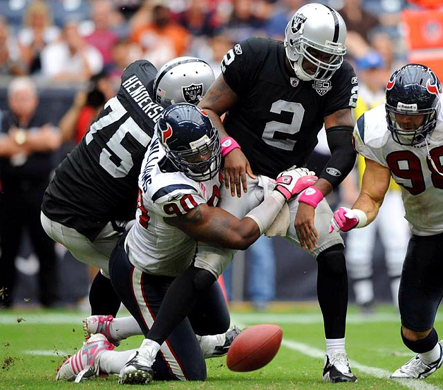 In barely more than five seasons, Williams amassed a franchise-best 53 sacks, relying heavily on a bull-rush that simply cannot be stopped by a single blocker. Williams missed the rest of the 2011 season after tearing a pectoral muscle while sacking Raiders quarterback Jason Campbell in Week 5. With the departure of Williams to Buffalo in 2012 and J.J. Watt's 20.5 sacks in 2012 alone, there may be a new leader relatively soon.