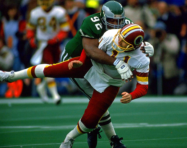 No surprise here. Reggie White was perhaps the greatest defensive lineman the NFL has known. White's dominance was such that he also ranks second all-time on the Packers' list and his 198½ career sacks (not counting 24 in the USFL) is more than the combined number of the rival Redskins' top two sacks leaders, Dexter Manley and Charles Mann.