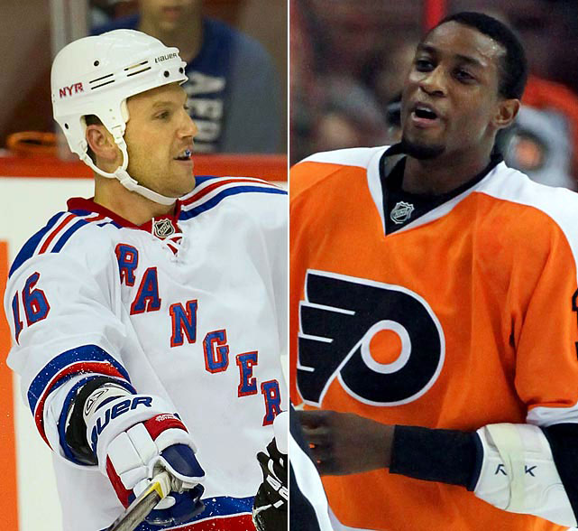 Avery accuses Flyers forward Wayne Simmonds of a homophobic slur during a preseason game on Sept. 26, 2011. The NHL finds no evidence to suspend or fine Simmonds, who several days earlier had been the target of a racist incident during a game in London, Ontario.