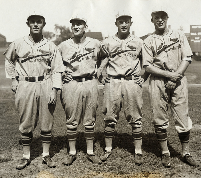 These Cardinals infielders were part of the St. Louis team that won the NL pennant in 1928. The Cardinals also won the pennant in 1926 and went on to win the franchise's first World Series Championship that season. Of the players pictured, only Bottomley was on the 1926 squad.