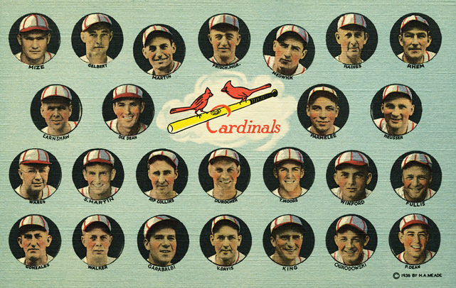 "This 1936 team photo shows the Cardinals team known as ""The Famous Gas House Gang."" The Cardinals won their third World Series in 1934."