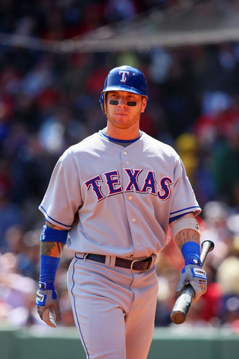 Josh Hamilton walks at Fenway Park during his first season with the Texas Rangers. The Rangers traded Edison Volquez and Danny Herrera to the Reds for the 2010 AL MVP.