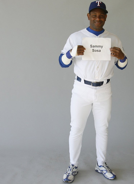 Sosa poses for a picture during spring training. He played two seasons in Texas, his rookie year in 1989 and his final MLB season in 2007.