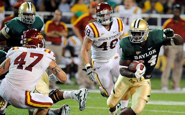 Terrance Ganaway (right) rushed 20 times for 173 yards and two touchdowns as No. 25 Baylor handed Iowa State its second straight setback. Robert Griffin III completed 22-of-30 passes for 210 yards and a score for the Bears, who improved to 4-1.