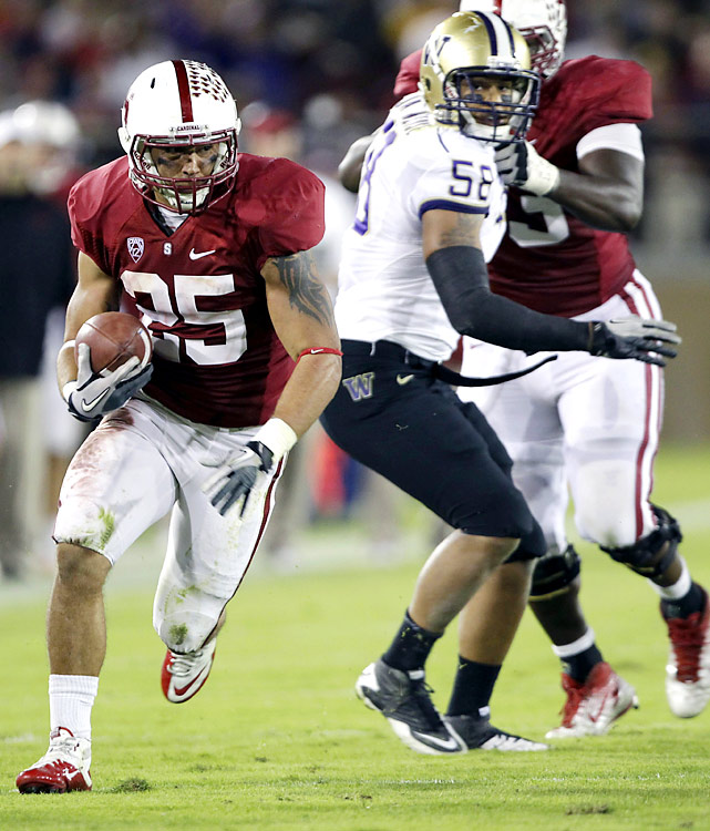 It was an easy night at the office for the Cardinal, who amassed 446 rushing yards in destroying the Huskies. Tyler Gaffney (left) carried nine times for 117 yards and a touchdown and Stepfan Taylor added 138 and a score on 10 carries as Stanford remained undefeated.