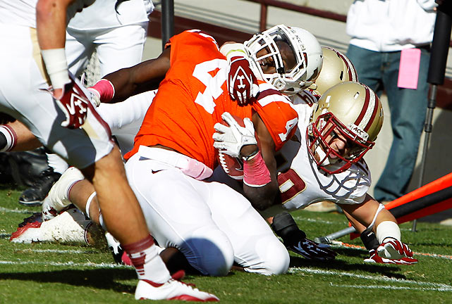 David Wilson (pictured) rushed for 134 yards and a touchdown on 17 carries, as Virginia Tech survived a slow start to topple Boston College. The Hokies outgained the Eagles 483-271.