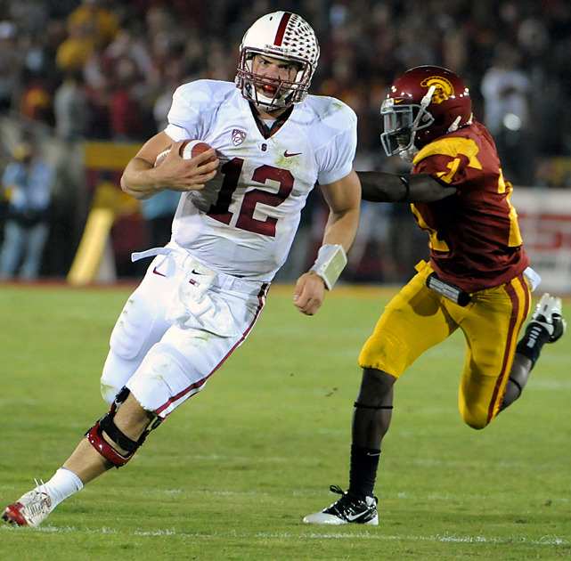 After nearly a full calendar year of blowout victories, Luck and the Cardinal might have forgotten what a thriller feels like. Luck threw for 330 yards and drove his team for the game-tying score after trailling with 3:08 to play to force overtime. Stepfan Taylor ran for the go-ahead score in the third overtime, and Stanford's defense preserved its 16-game winning streak by forcing Curtis McNeal's fumble into the end zone to finish it.