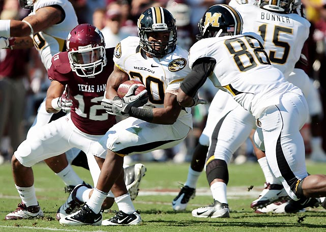 Another week, another second-half collapse for Texas A&M. The Aggies led by 11 at halftime, nearly lost in regulation (Missouri failed to hit a 46-yard game-winning field goal) and then failed to answer in overtime after James Franklin found Marcus Lucas for an 11-yard score. Henry Josey (pictured) had another big day for the Tigers, rushing 20 times for 157 yards and a score.