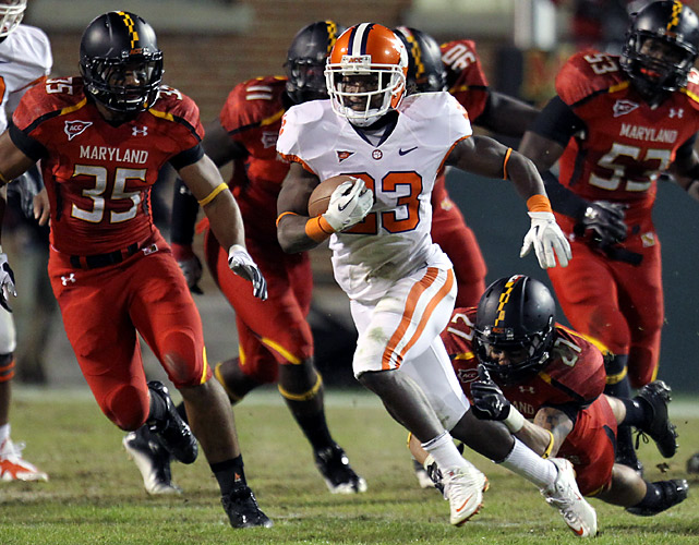 Tajh Boyd threw four touchdown passes, freshman Sammy and No. 8 Clemson rallied from an 18-point deficit. The Tigers (7-0, 4-0 Atlantic Coast Conference) trailed 35-17 in the third quarter before storming back behind Boyd, who went 26-for-38 for 270 yards as the catalyst of an offense that amassed 576 yards. Andre Ellington (23) rushed for a career-high 212 yards and two touchdowns for the Tigers, who have scored at least 35 points in all but one game this season.