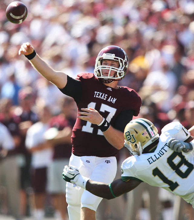 Ryan Tannehill threw a career-high six touchdown passes and outplayed Baylor quarterback Robert Griffin III as the Aggies trounced the Bears. Texas A&M rebounded after back-to-back losses to Oklahoma State and Arkansas.
