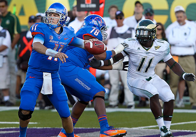 Kellen Moore (pictured) threw for 338 yards and four touchdowns, Doug Martin ran for 200 yards and three scores and Tyler Shoemaker caught nine passes for 180 yards and two TDs as Boise State (6-0, 1-0 Mountain West) routed Colorado State (3-3, 1-1) in its conference opener. Moore, Martin and Shoemaker were lifted for reserves in the third quarter of the blowout.