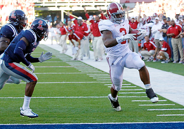 Trent Richardson (pictured) rushed for 183 yards with a career-high four touchdowns as Alabama (7-0, 4-0 SEC) beat Mississippi (2-4, 0-3) for the eighth straight time. The Crimson Tide outgained the Rebels 641 yards to 144.