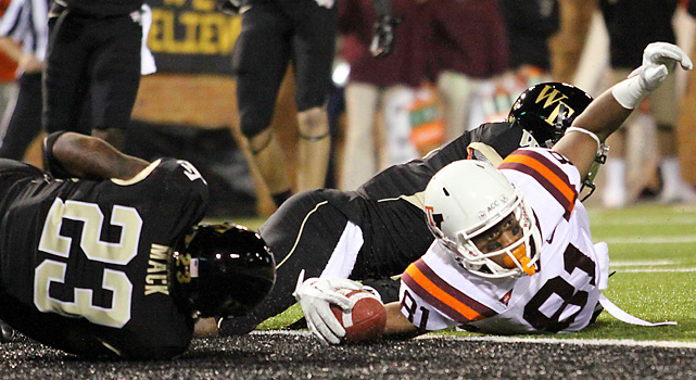 Logan Thomas accounted for four total touchdowns, including Jarrett Boykin's second-quarter stretch into the end zone, as Virginia Tech (6-1, 2-1 ACC) erased a 10-0 deficit to win easily. For Wake Forest (4-2, 3-1), Ted Stachitas replaced Tanner Price at quarterback for the final drive.