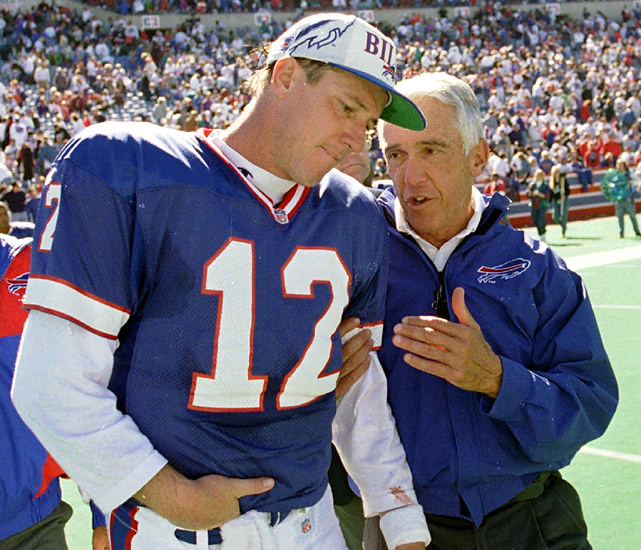 Jim Kelly and Marv Levy came up short in four consecutive Super Bowls, but they did win 99 regular-season games together along with four AFC titles. While Kelly and Levy may be remembered for their painful losses, both are in the Hall of Fame, thanks in part to Kelly's command of the K-Gun, one of the fastest and most prolific attacks in NFL history.