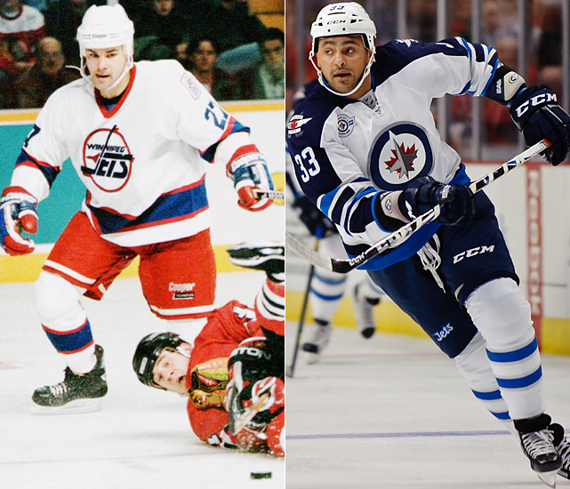 Numminen was drafted by the Jets in 1986 but didn't leave Finland until 1988. He made his Jets debut in 1988 and played 547 games for Winnipeg, fifth in team history.   Byfuglien is the most recognizable player on the new Jets, becoming a household hockey name during the Blackhawks' Stanley Cup run in 2010. Big Buff was traded to Atlanta in June 2010 and was an All-Star in 2011.