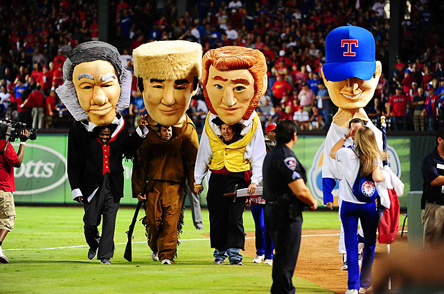 It's not quite Milwaukee's sausages, but the Rangers hold a Texas legends race with Sam Houston (from left to right), Davy Crockett, Jim Bowie and Nolan Ryan.