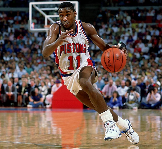 Thomas won two NBA championships and the 1990 Finals MVP award. The 11-time All-Star was also an NCAA champion with Indiana in 1981.
