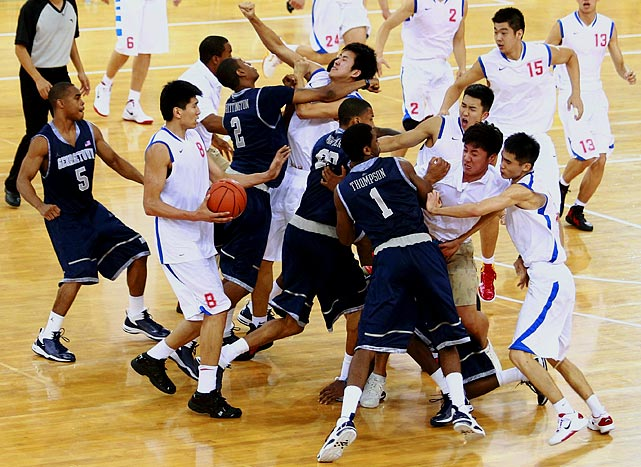 So much for goodwill. A Beijing exhibition turned ugly as both teams engaged in a benches-clearing brawl. With the game tied at 64, fisticuffs broke out and punches flew as fans hurled water bottles at the floor. Georgetown center Henry Sims was reportedly hit with a chair.  The melee defeated the game's intended purpose: furthering international sports diplomacy.