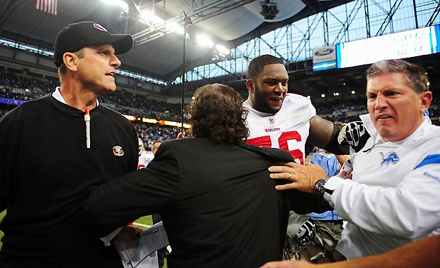 "After handing Schwartz's Lions their first loss of the season, in Detroit on Oct. 16, the 49ers coach gave his counterpart a dismissive backslap and shove as they met on the field. (  Click here for the video.  ) Incensed, Schwartz pursued Harbaugh and the two had to be separated. The NFL looked into the incident, but declined to discipline the coaches. ""Personally I can get better at the postgame handshake and we'll attempt to do that,"" Harbaugh admitted. ""I don't think that there's any reason for an apology. We spoke about it after the game, and at some point we will talk in private. Apologies always seem to me like excuses."""