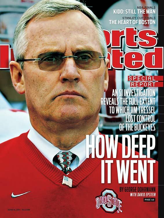 The year 2011 was not kind to college sports (witness the horrific Penn State scandal) or the man in the sweater vest. After it was revealed that he failed to notify Ohio State of numerous NCAA violations, including a memorabilia-for-tattoos arrangement that dated back to 2002, Tressel was asked to resign as Buckeyes head coach. Following his Memorial Day departure, the program vacated all of its wins from 2010 and imposed a two-year postseason sanction.