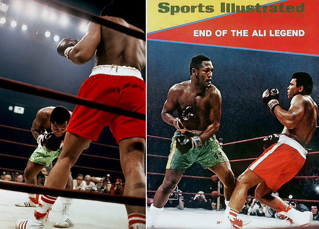 "Frazier and Muhammad Ali were both undefeated when they met in the ""Fight of the Century"" before 20,445 fans at Madison Square Garden (and 1.3 million watching via closed-circuit TV). Frazier fell behind early but came on strong as the fight wore on, flooring Ali with a devastating left hook in the 15th round to punctuate a unanimous-decision victory."