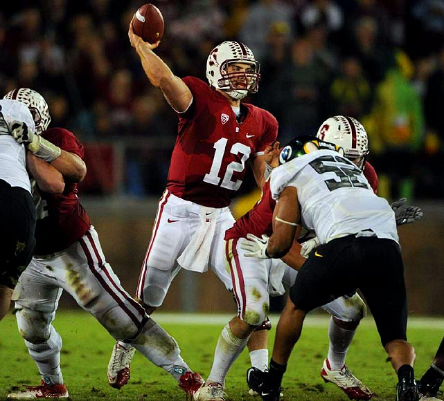"""Last week:  27-of-41 passing for 271 yards, three TDs and two interceptions; five rushes for minus-13 yards in 53-30 loss to Oregon.   Season (10 games):  221-of-313 passing for 2,680 yards, 29 TDs and seven INTs; 34 rushes for 134 yards and two TDs; one reception for 13 yards.  """"Worst game of the year,"""" Luck said after Stanford's 17-game winning streak was snapped by the Ducks. That was putting it lightly. The trademark accuracy just wasn't there as Luck led Cardinal to their lowest point total in 23 games and the fewest total yards (372) of his career. Luck was so entrenched as the leader that it's going to take more than one bad performance to knock him out of the top spot, though his margin for error is slim at best as Weeden continues to make his run. On a positive note, he did move into second all-time on the Stanford TD pass list, with 74, and now trails only John Elway (77).   Next up:  Saturday vs. Cal"""