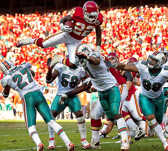 Chiefs running back Dexter McCluster goes airborne against the Miami Dolphins. Miami defeated the Chiefs 31-3 to pick up their first win of the season.