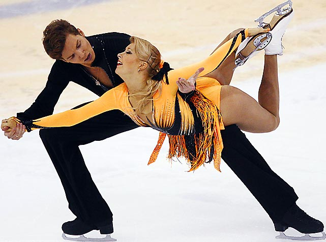 Ekaterina Bobrova and Dmitri Soloviev perform during the Cup of China ISU Grand Prix of Figure Skating in Shanghai. The Russian figure skating pair earned gold in the ice dancing competition.