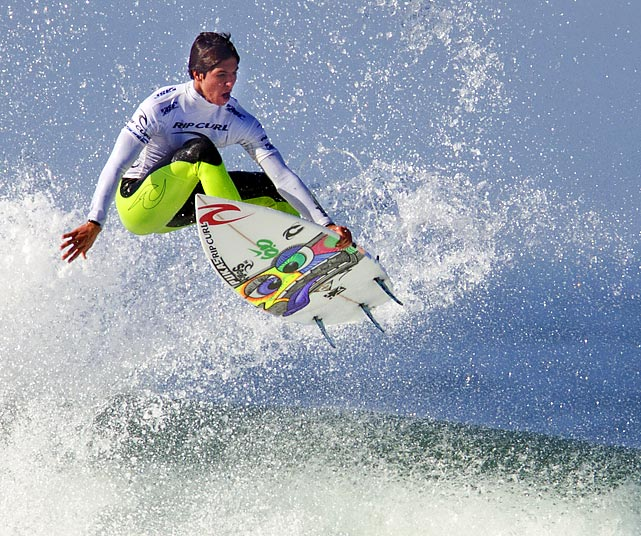 "Gabriel Medina competes in the quarterfinals of the Rip Curl Pro Search ""Somewhere in San Francisco"" contest. The 17-year-old won the competition."