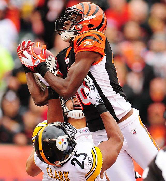 Rookie wideout A.J. Green hauls in a touchdown pass over Steelers safety Ryan Clark. Green suffered an injury on the play and this ended up as his only reception in the 24-17 loss.