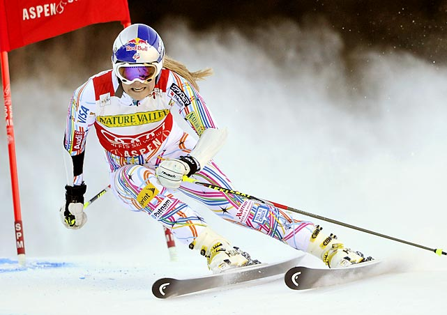 U.S. Olympian Lindsey Vonn carves her way down the giant slalom course at the Audi FIS Alpine Ski World Cup in Aspen, Colo. Vonn took 12th place.