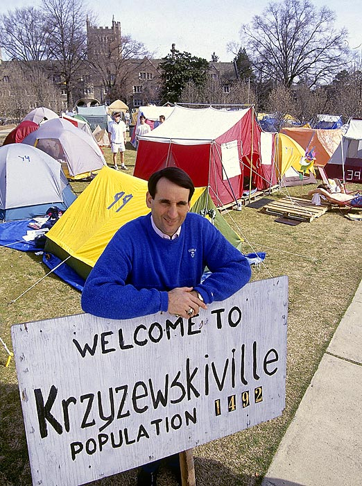 Krzyzewski poses in front of tents in Durham, N.C. He has been the head coach at Duke since 1980.
