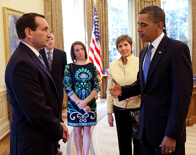 Krzyzewski is introduced to President Barack Obama in the Oval Office in 2010. Krzyzewski coached Duke to an NCAA title and team U.S.A. to a FIBA title that year.