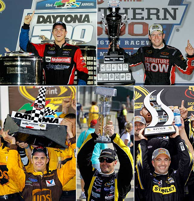The 2011 season was known for a slew of first-time winners, as Trevor Bayne (Daytona 500), Regan Smith (Southern 500), David Ragan (Coke Zero 400), Paul Menard (Brickyard 400) and Marcos Ambrose (Watkins Glen) all accomplished the feat. There were also 18 different winners in the 36 Cup races this season. None of the first-time winners made the 12-driver Chase field.