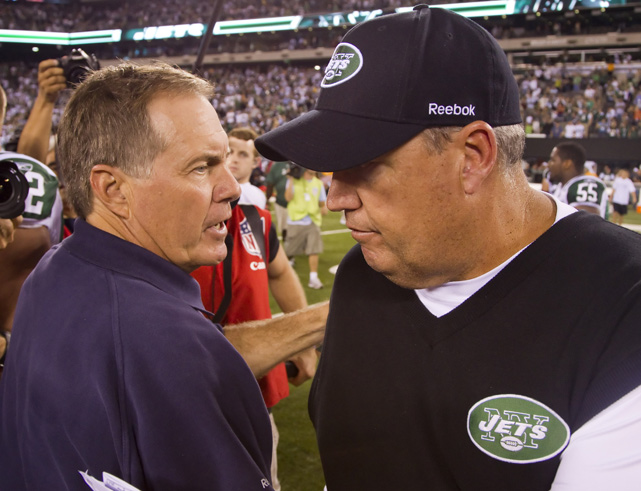 """<bold>""""I just told the truth. I came here to win. As much as I respect and admire Bill Belichick, I came here to kick his (butt), and that's the truth. That's just the way it is.""""</bold> <italics>-- Nov. 2010 (prior to game against New England), when asked about his 2009 comment that he wouldn't kiss Bill Belichick's rings</italics>"""