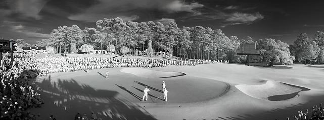 A panoramic view of the fourth hole at Augusta National Golf Club.