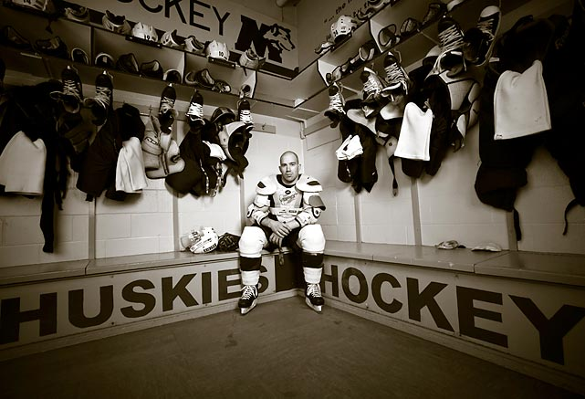 Mike Danton in the St. Mary's Huskies locker room.