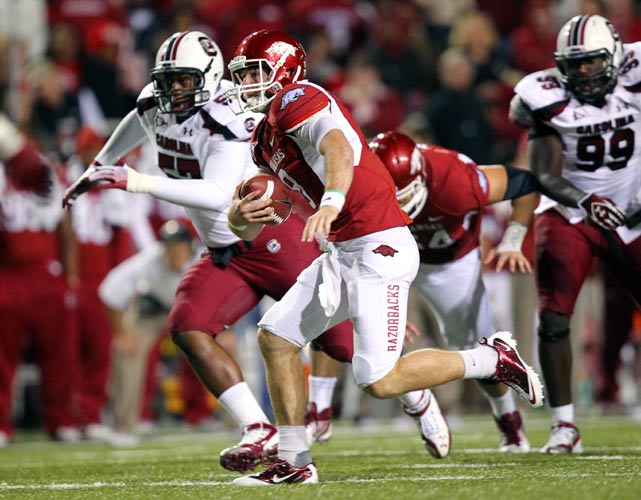 Despite the final score, this was a close one early in the fourth quarter, with Arkansas leading just 30-28. But the Hogs got a pair of late touchdown runs from Ronnie Wingo and Broderick Green to improve to 8-1 on the year and 4-1 in the SEC. Tyler Wilson (pictured) threw for 299 yards and two scores.