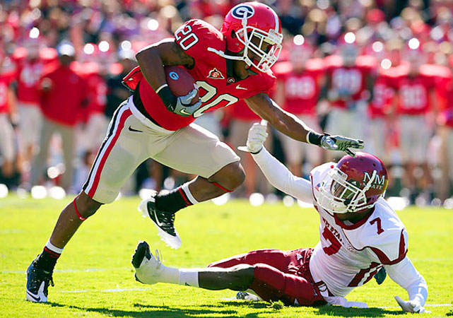 Aaron Murray threw five touchdown passes in the second quarter as Georgia (7-2, won its seventh straight game, crushing New Mexico State. Former walk-on receiver Brandon Harton (pictured) rushed for a complementary 98 yards as the Bulldogs were without three running backs. Murray completed 18-of-23 passes for 238 yards, five touchdowns and no interceptions, playing just the first half of the blowout.