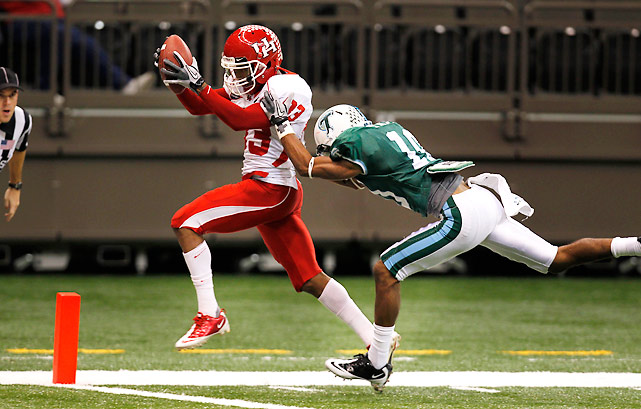 Case Keenum may get all of the headlines, but Houston receiver Patrick Edwards (pictured) is having a special season as well for the undefeated Cougars (9-0). Edwards caught three touchdown passes from Keenum against the Green Wave and scored another touchdown on a punt return. The senior now has 15 receiving touchdowns on the year.