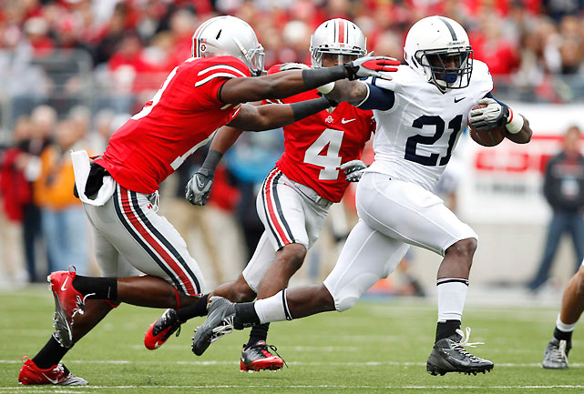 Penn State held tough in its first road game since Joe Paterno's firing, beating Ohio State to keep its Leaders Division title hopes alive. Running back Stephfon Green (pictured) led the way with 93 yards and two touchdowns on 16 carries.