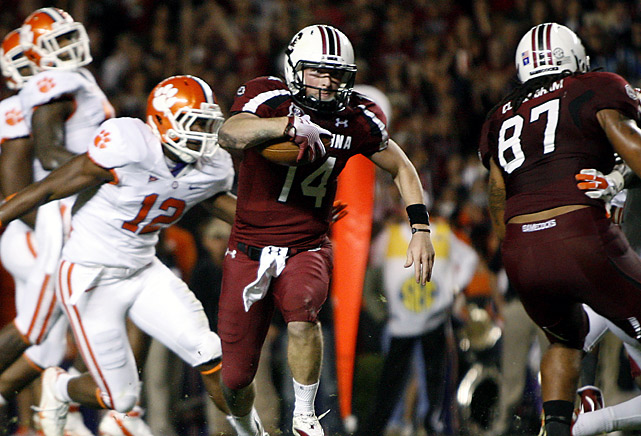 Connor Shaw threw three touchdown passes and ran for a score to lead South Carolina to a 10-win season for the first time in 27 years and its third straight victory over its in-state rival. Clemson was part of the BCS title talk a month ago when it opened 8-0 and rose to No. 6 in the country. But it heads to the ACC championship game against Virginia Tech next week a shaky team after losing three of its past four.
