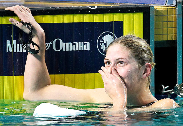 Denmark's Lotte Friis reacts after she wins the 800m freestyle in a time just .24 away from the world record. The U.S.'s Chloe Sutton finished second.